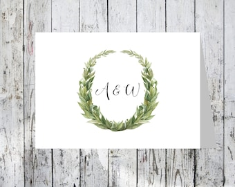 Green Wreath Note Card, Thank You Note