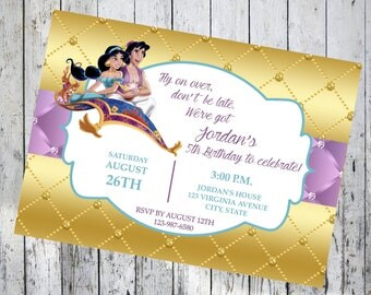 Aladdin Birthday Invitations, Aladdin and Jasmine Birthday Invitation