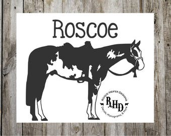 Paint Horse Decal - Western Pleasure Decal - Custom Horse Name-  Trail Riding - APHA - Cowgirl - Personalized - Rodeo - Barrel Racing