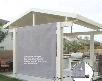 Custom Sized Sun Shade Rod Pocket Panel with Grommets for Patio,Awning,Window Cover, Instant Canopy Side Wall or Pergola -Smoke Grey