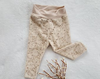 Baby leggings/3-6month baby girl leggings/Baby footless tights/light tan floral lace leggings/pretty but comfy baby girl lace leggings/