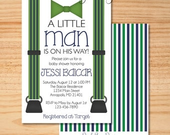 Little Man Baby Shower Invitation, Mustache Invitation, Baby Shower Invitation, Blue and Green Shower Invitation, Boy Shower Invite