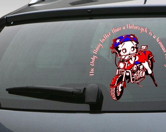 "Betty Boop Car Decal, Betty Boop Decal, Car Decal, ""Motorcycle"" Car Decal, Betty Boop Motorcycle Decal, Decal for Women, Decal for Men"