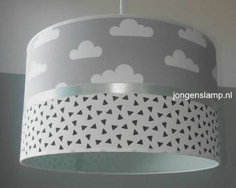 Baby lamp room grey Mint green with clouds
