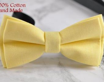Men Women 100% Cotton Matte Baby Yellow Solid Craft Bow Tie Bowtie Wedding Party