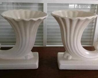 Pair of McCoy Pottery Cornucopia Vases