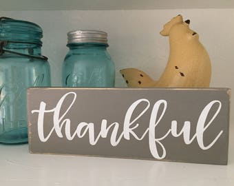 Thankful Sign, Wood Sign, Give Thanks, Gift, Teacher Gift, Hostess Gift, Under 10