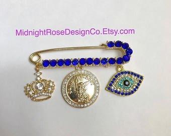 St. Michael Stroller Pin | Stroller Pin with Saint | Royal Blue Stroller Pin