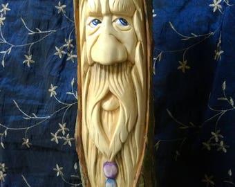 Woodstock wizard treespirit, a greenman, woodspirit, tree wood carving.