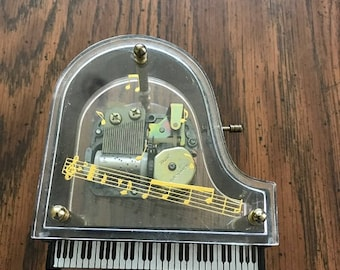 1950's Vintage Lucite Baby Grand Piano Music box