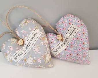 Floral tilda hanging fabric hearts