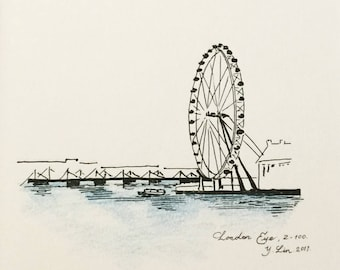 London Eye, Black and White Original Art, London City Sketches, London Skyline, London Architecture, Urban Sketching, Cityscape Drawing