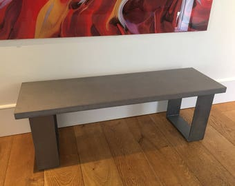 Concrete Industrial Bench in Cool Grey // with flat 8mm thick Steel legs - Clear Coat / Seat / Chair