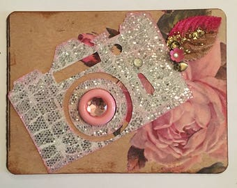 Silver and Rose Camera Card