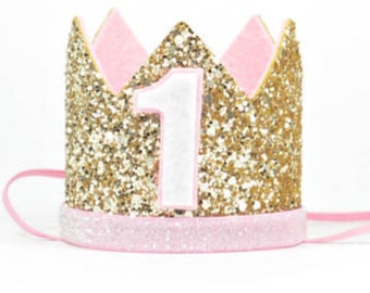 First Birthday Crown For Girl   1st Birthday Crown Of Glitter   Birthday Hat   First Birthday Outfit Pink and Gold   Girl Birthday Outfit