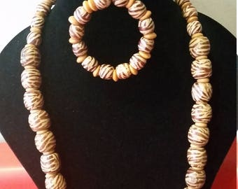 Handmade African Wooden bead Necklace and stretch Bracelet Set.