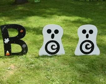 boo halloween yard sign halloween yard letters halloween yard art yard signs - Halloween Garden Stakes