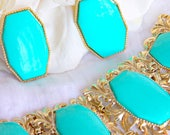 50s Jewelry: Earrings, Necklace, Brooch, Bracelet Turquoise Lucite  gold bracelet earrings set vintage 1950s demi parure MCM Mad Men jewelry $65.00 AT vintagedancer.com