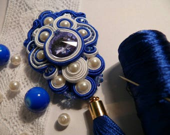 Blue suotache pedant, soutache necklace, handmade jewelry