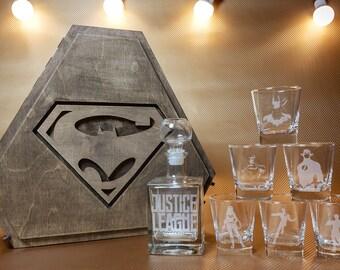 Justice League, Batman, Superman, Justice League Gift, Christmas gift, Superhero Gift, Whiskey Glasses, Wonder Woman, Aquaman,Flash, for Men