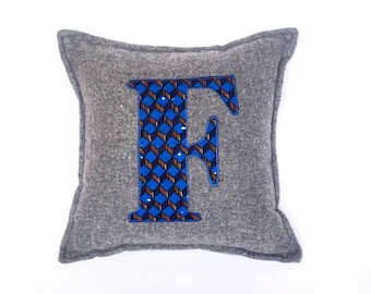 African Print, Alphabet Cushion, Letter Cushion, Personalised Cushion, Decorative Cushion, Initial Cushion