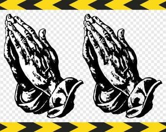 Christian Svg Pray Prayer Praying hands Clipart Dxf Pdf Png files