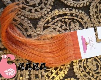 """Orange, extension hair strips human hair Extensions, band European hair Extensions, 15 """", skin/glue"""