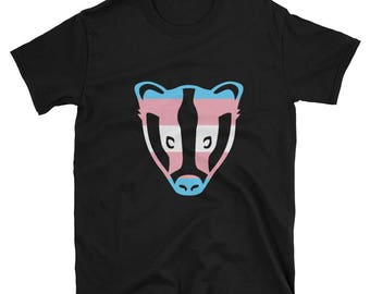 Trans Pride Badger Unisex T-Shirt lgbt lgbtqipa lgbtq mogai pride flag gay transgender