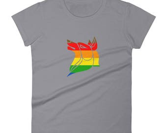 Philadelphia Pride Wolf Women's short sleeve t-shirt lgbtq lgbt lgbtqipa queer gay transgender mogai