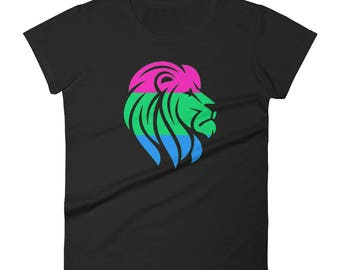 Polysexual Pride Lion Women's short sleeve t-shirt  lgbt lgbtqipa lgbtq mogai pride flag bi pride