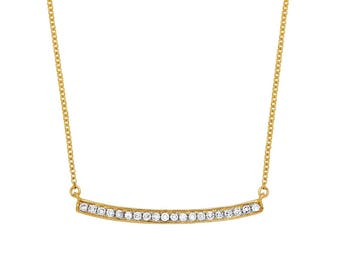 Yellow/white gold necklace 18 k, diamonds 0, 12 CT, 42cm