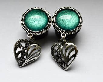 Heart plugs 16mm one-offs -.