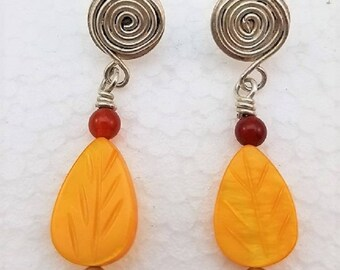 Handcrafted spiral sterling silver dangle post earring with carnelian, silver and carved mother of pearl beads