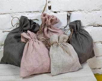 Linen bags, small linen bags, linen favor bag, french linen bag, rustic wedding favor, white favor bag /LH0013