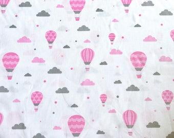 Hot air balloon fabric, balloon fabric, hot air balloon, baby fabric, children fabric, pink fabric, pink balloon, cloud fabric
