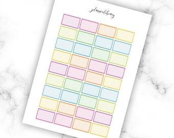 Glitter Multicolour Half Boxes // Printable Planner Stickers / Erin Condren Kikki K Plum Paper Happy Planner Filofax Multicolour Functional