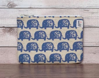 Lucky Elephant Coin Purse Handmade Fabric Zipper Pouch Zippered Change Bag Wallet, Earbuds Case Gift Card Holder Elephant Lover Gift Blue