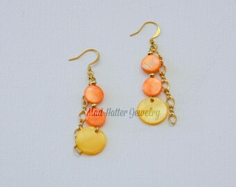 Yellow and orange earrings