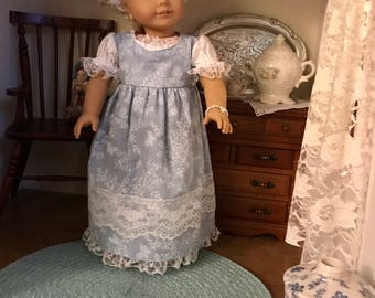Blue Floral Chemise Dress for American Girl Caroline
