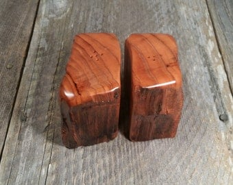 Redwood Rustic or Root Salt and Pepper Shakers Set Handmade #M