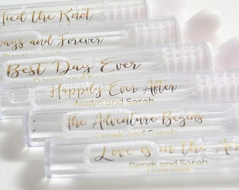 Wedding Bubble Labels, Personalized Wedding Labels, Custom Wedding Stickers, Bubble Wand Label, Gold Clear label, Gold Wedding Labels