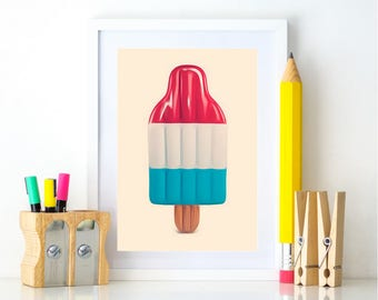 Popsicle Print, Summer Printable, Popsicle Decor, Nursery Print, Funny Art Print, Downloadable Prints, Pool Party Decor, Patio Wall Decor