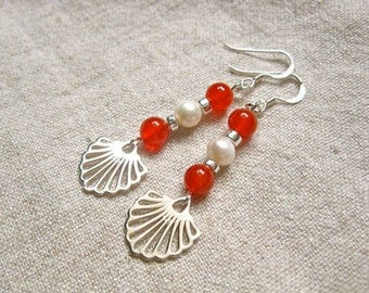 Valentines earrings ft Camino scallop shell, pearls + carnelian