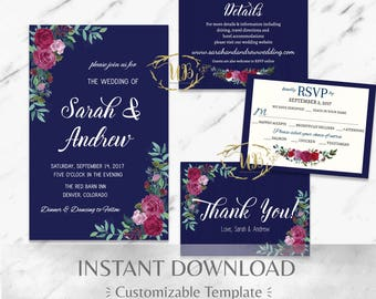 Navy Blue| Burgundy|Printable Wedding Invitation Suite|Floral Wedding Invitation|Marsala Wedding Invitation|Garnet|Boho|Mountain|DIY Wedding