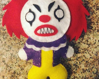 """Pennywise felt plush - inspired by the movie """"It"""""""