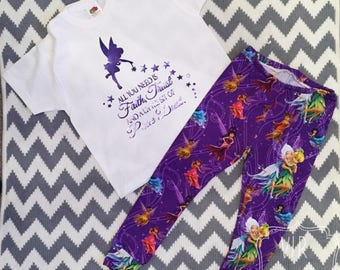Handmade Disney's Tinkerbell and friends, cuffed ankles and waist band. Cotton jersey fabric purple