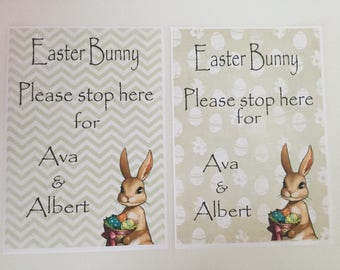 Easter bunny please stop here - personalised a4 print