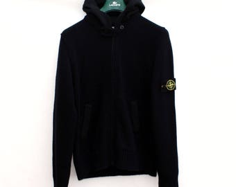 Vintage 90's STONE ISLAND Dark Navy hooded Track zip up soft JACKET. Size Large. Real Authentic Genuine