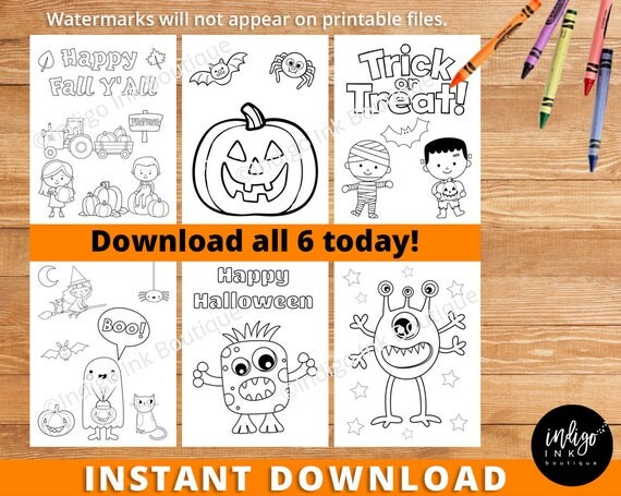 Halloween Coloring Sheets INSTANT DOWNLOAD | Fall Coloring Pages | Teacher  Printable Halloween Coloring Pages | Kids Coloring Book