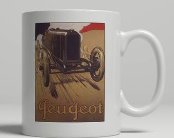 Peugeot vintage racing car advertising poster printed on a new ceramic mug. Loving all things art deco and retro. UK Mug Shop. Peug 2